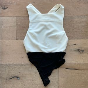 Foreign Exchange White Backless Bodysuit
